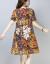 嘉宴のワンピース2019夏の新商品の大きいサイズの中で年を取った婦人服の文芸の復古風のプリントはゆったりと腹を覆って綿のワンピースの女性のスーツの赤い底の木の葉Mを隠します。