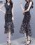 鳳九ワンピース女性夏2019 NEW女装ジョッツァーゼット柄トートウエストVネックヒップスカート開叉フーフィット
