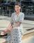 伊裳の婦人服のワンピース2019夏NEW韓国版V襟の五分の袖の中の長目の高腰の結び目の丸い点のスカートはやせています103白色S