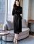 2019春夏季NEW快適桑蚕糸女装純色小柄で痩せやすいローリングカート半袖エレガントなシルクワンピースに合わせてゆったりとした五分袖礼服黒M