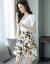 芳矜紡二点セットのワンピース2019夏NEW新品韓国版女装中のロングサイズのタイの大きいサイズの婦人服ファッションスーツの女性はウエストが細く見えるジョッツァーのレースのプリントワンピースの写真色2 XL