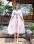 靓琦斯縁汉服女2019夏新作ワンピース復古文芸刺繍ステッチステッチの襟のラッパの袖の王女范の中の長い款のスカートのピクチャーの色M