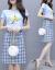 ガールガムワンピースセット2019夏服NEWファッション韓国版女装プリント半袖Tシャツ復古チェックスカート2点セットカージュアルベーススカート小新鮮スカート青S