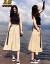 ジェウク桜のスーツのスカートの女性2019春夏の雰囲気ネットの赤い冷たい風の学生の復古のワンピースの女性の中で長い項はひざを越えてとても仙のフランスの小さい大衆のTシャツの上半身のスカートの2つのセットの女性の袖なしのスーツM(95-105斤を提案します)を超えます。