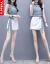Vekee'sワンピースセット2019夏NEWファッション女装プリントショッパーシャツ韓国版ショーツがスリムに見える2点セットのスカート画像色XXL