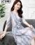 bei嘉爾の重さのポンドの100桑の絹糸のワンピースはやせている夏季の大きいサイズの婦人服のワンピースの中で長いスカートの氷の糸のゆったりしている青い白色のストライプの絹のスーツの女性の中で袖の浅い青色のMサイズを現します。