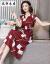 風軒の服の度の本当の糸のワンピースの女性の中で長い項は明らかにやせている桑の絹糸の2019夏の新型の婦人服の半袖の小花の丸い襟の杭の産の絹織物の98黒色Lを現します。