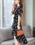 鼎朴ワンピース女ジョウゼットゆったりドットvネックスカート2019夏新品不規則気質ネット赤ビッグサイズスカート黒L