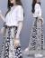 梓齢ZLワンピース女性二点セット女性スーツスカート2019 NEW女性服夏二点セット高腰ロングワンピース女性刺繍半袖ステッチログサットセット画像カラーセットL(105-15斤オススメ)