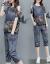 花売りワンピースジレット2019夏NEWファッションジーンズセット女性韓国版ゆったりチョーゼック肩抜けTシャツ2点セットM 049ブルーL
