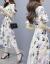 シングルの蜜夏の女装半袖ワンピース新品2019 NEW韓国版の中で長めのタトが見せているスリムなファッションセクシーなショルゼルプリントのビーチスカートの色M
