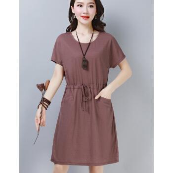 ワンピース半袖夏服純色2019中年お母さんの女装高級台型スカウト洋服MZL 00827紫XL