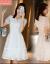 知語者ジチョーゼットワンピース女子中ロングモデル2019夏NEW婦人服韓版半袖レース白刺繍気質痩せスカート5356白M