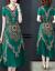 【京東好品】復古プリント半袖チョウゼルワンピース女性2019夏NEW中のロングサイズの膝大サイズサイズのスーパーグリーン2 XL(125-135斤を推奨)
