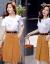 ガールガムワンピースセット2019夏服NEWファッション韓国版女装プリント半袖Tシャツ復古洋風ワンピース2点セットカージュアルベーススカート小新鮮スカートグリーンセットXXL