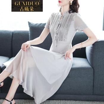 古光朵(GUXIDUO)軽奢ブランドジバトゼットワンピース2019 NEW夏服女性が普段着ることができるドレスローリングカーター。高级太女上品スカートグレー。