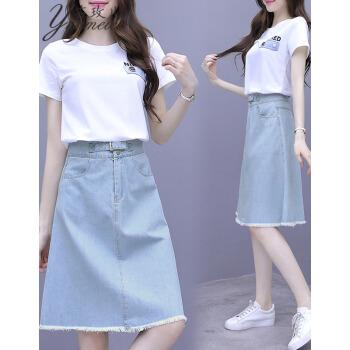 芸玫のワンピース小清新スーツスカート女装2019 NEW夏洋気減齢ファッション高腰デニムスカート二つセット9618写真色セットL