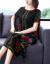 【京東好品】ジロジャーのワンピース2019 NEW夏の韓国版復古プリントのウエストが細く見える大きなサイズの膝丈スカート黒4 XL(145-55斤をおすすめします)