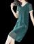墨茉2019 NEW夏のワンピースショルゼル半袖のゆったりしたサイズの婦人服韓国版はやせています。純色の中年のお母さんは弾力緑色Lをつけています。