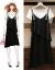 徳媛服飾ジレットワンピース2019夏新品女装ビッグサイズ肥満MMファッションスーツ女性レースの減齢洋気があります。やせて見えるビーチショルダーバックセットスカート2点セット黒セットL
