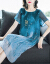 佐杉奴シルクワンピース2019夏NEWプリントスカート大サイズ女装膝の中の長めのゆったりとしたスリム丸首半袖ワンピースクソブルーL