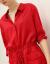 COCOCOBELLAフランス式の小さい大衆の赤色の純粋な絹のワンピースの女性の秋の簡単なShatwanピンピスDS 1109赤いL