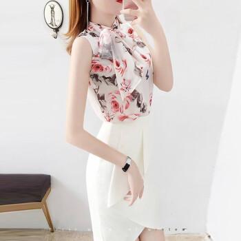 【オンラインで袖カバーを送る】2019夏NEWファッション白い尻のスカートの雰囲気洋気減齢2点セットのCH 308上着とスカートL【100-110斤を提案する】