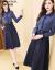 シエルヴィーナの女装ワンピース2019秋NEW偽のワンピース2枚と長袖のハイエンド洋風デニムブルーテートは、ウエストが細く見えるスカートの画像色XLを収纳します。