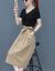 法姿迪ワンピース女性2019夏新品NEWビッグサイズ女装韓国版タイ顕痩身セクシー2点セットファッションカジュアルスーツTシャツジショレットスカートカーキ色セットL