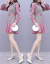 描かれたワンピースの女性2019秋の服NEWの小さい香ばしい風は格子の長袖のワンピースをつづり合わせます。秋の知恵と薫りのスカートのフランス式キキョウのスカートのピンクM