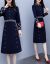 アイアンワンピース2019秋NEWセレブ気質OL刺繍ダブルブレス長袖タト洋風ワンピース女性ブルーM