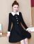 法姿迪ワンピース2019春秋新品韓国版ファッションビッグサイズの女装NEWセクシー減齢中の長身タイプのカマアート長袖ジョウゼルプリント蕾糸打底ワンピース画像色黒9955 L提案105斤--119斤