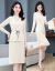 Quince Girlの女装ワンピス2点セクト2019年秋の女性は、背が低くて、スタルが高くて、ファンシーの韓国語バージタウンのワゴンピスです。