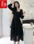箏のハーバーン風の小さい黒のスカート2020年春節NEWは腰を収めてやせている気質の法式の仙女の小さい香ばしいハイエンドの年会のワンピースの晩餐の礼服の女性の中で長い款の気高い冬季の黒色の高級な黒(良い品質)S