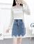 シングル/スーツスカート2020春NEW韓国版ファッションカージ・ショルゼルシャツ長袖ガードレール+チェックの百襞半身ショーケース小柄レースワンピース2点セットスカートS