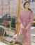 INMAN 2020春物服NEWクラゲエ折り襟落下肩袖腰の間に百襞の中袖ワンピース女性【1801144】ダークピンクM