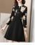 フォルクスファーの軽贅沢ブランドのシルクワンピース女性2020年春NEW桑蚕糸フランス復古プリントのウエストが細く見えるスカート黒170/XL