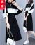 ジェウク桜ワンピース女性ビッグサイズ女装2020年早春NEW学生ビッグインパクトカラー合わせ肥満mm减齢式カジュアルスカート顕やせスポーツスタイル中长款パンカーストブラックM(100-15斤おすすめ)