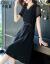 汐妮璐ワンピース2020夏NEW女装ビッグサイズ韓国版痩せるファッションスタイルの中、長めの半袖ショルゼルワンピース女性Q 865黒M