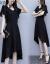 汐妮璐ワンピース2020夏女装NEW韓国版やせファッション気質ビッグサイズショルゼル半袖中ロングスカート女性Q 858黒M