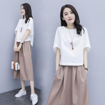 尚贝珊女装ワンピス2020夏NEW绵麻韩版ビレッズです。ショルジュ半袖ショルゼル2点セクのスカウトがあります。夏の服はファンシです。ツは女性の上に白い下にカートです。