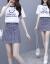 ガールガムワープ2019夏服NEWフュージョン韓国版女装プロ半袖Tシャツーヴィンテージチェッカー2点セット