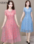 ジェリー欧2020夏新品ワンピースチョーゼロ半袖中長めの韓国版ゆったりとした中年大サイズの婦人服の上品な雰囲気がお腹を隠して痩せた女性らしいプリントビーチスカートピンク(237)2 XL(110-120斤をオススメします)