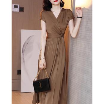 純色ワンピース女性2020 NEW夏Vネック半袖タトストレッチロングタイプのヴィンテージスカートのコーヒー色L(105-15斤をオススメします)