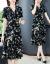 夕方チル凉しい花のシルクワンピース女性夏の半袖の中に长いスカート女性2020 NEWエレガントでゆったりした大きいサイズの妇人服の小柄な桑蚕糸のワンピースの気质の色模様