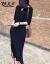 妍莉芬ワンピースジゼル2020夏NEW女装韓国版半袖黒開叉ロールスカウト夏気質セクシーウエストにタイト見せスリムスカート黒M