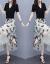 スターライトワンピース2020夏NEW女装韓国版タトファッションビッグサイズ2つセットVネック半袖Tシャツ刺繍中のロングアイテムジゼルスカート女性黒L