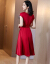 YISHANシルクのワンピース女性夏ブランドの婦人服の桑蚕糸NEWはウエストが細く見える純色の中に長いスカートのシルクと青い色L 100-115斤を収めます。