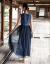 左ブループリントの花布シリーズで生活しています。2020夏の女性服の新商品は袖なしVネックの中に長いワンピース1902053紺青Sです。