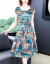 暮チルシルクのワンピース女性桑蚕糸過膝スカート女性2020夏新作ビッグサイズの婦人服がゆったりとしてお腹を隠して痩せて見えるワンピース女優雅気質のお母さんが青い2 XLを装着しています。